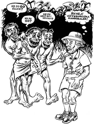 Vit man i tropikdräkt möter tre svarta kannibaler som undrar om han 'är go eller?'