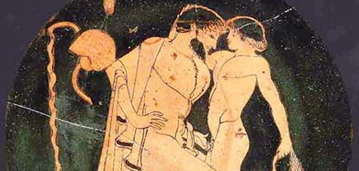 Vasmålning med avklädd äldre och naken yngre man
