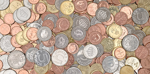 gamla och nya mynt blandade