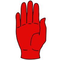 röd handflata
