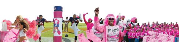 Rosa cheerleaders, amerikanska fotbollsspelare m m
