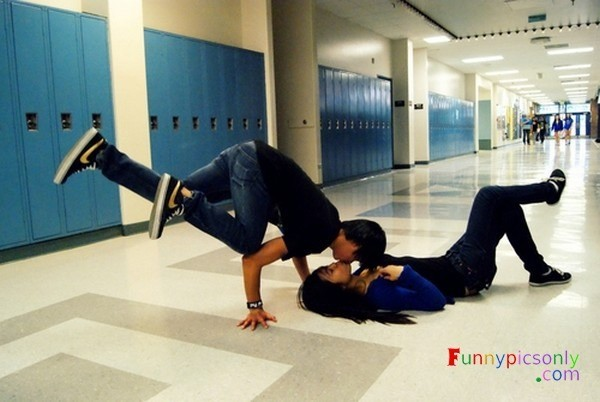 high school kissing position