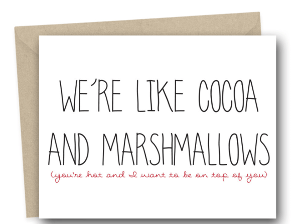 We are like cocoa and marshmallows funny greeting card