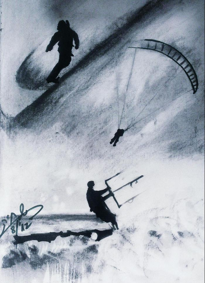 surfers+waves+drawing
