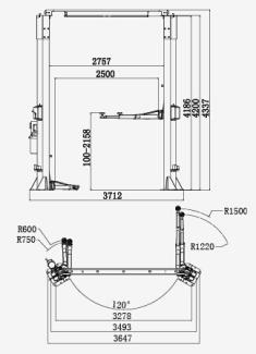 Two-post Asymmetrical Lift (Manual Unlocking),Heavy Duty