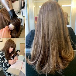 Long light brown hair with curly blow dry