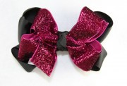 pink sparkling glitter black grosgrain
