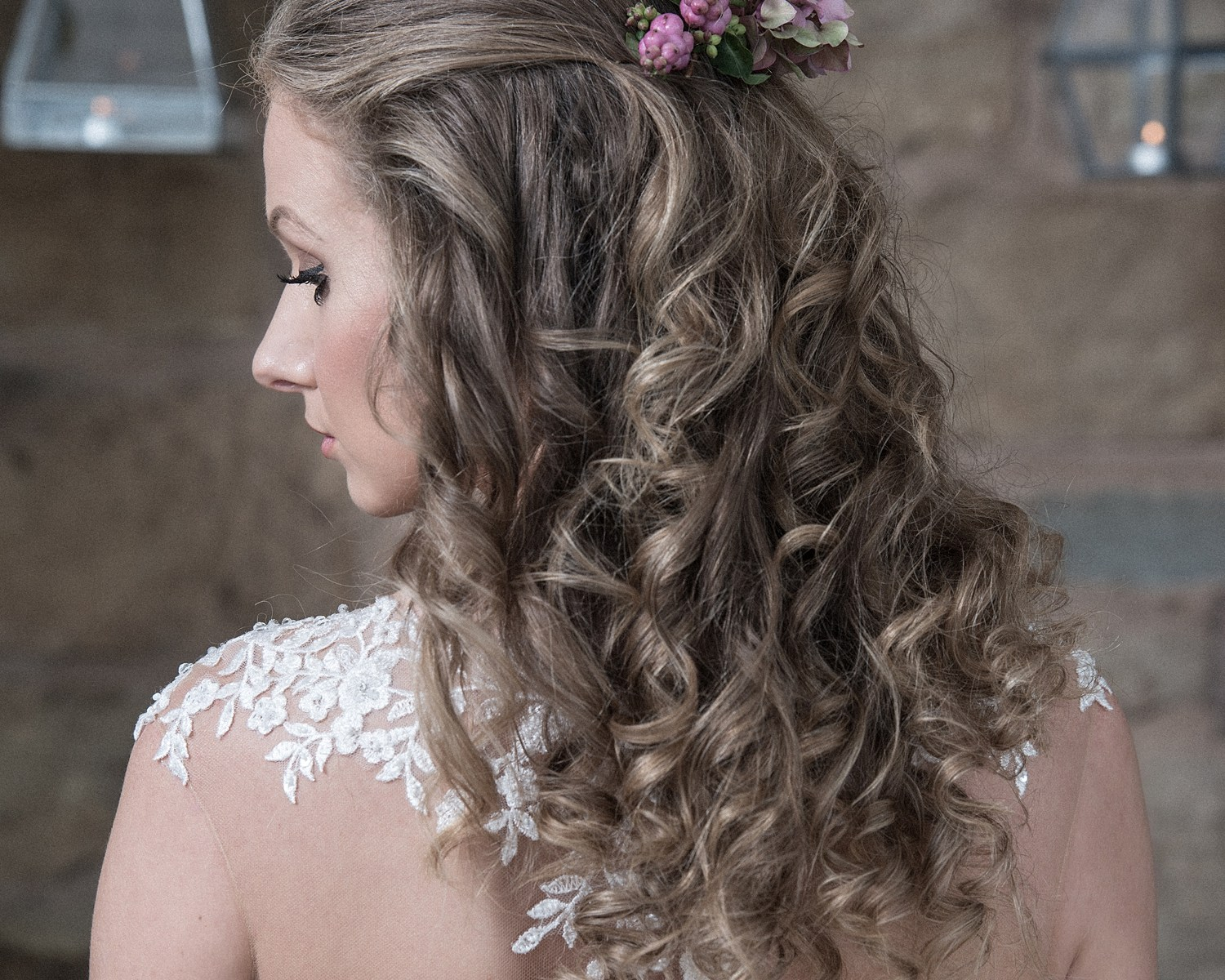 Bridal boho hair with flowers