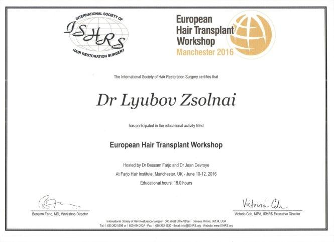 European Hair Transplant Workshop Certificate