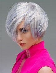 grey hair color asymmetrical bob
