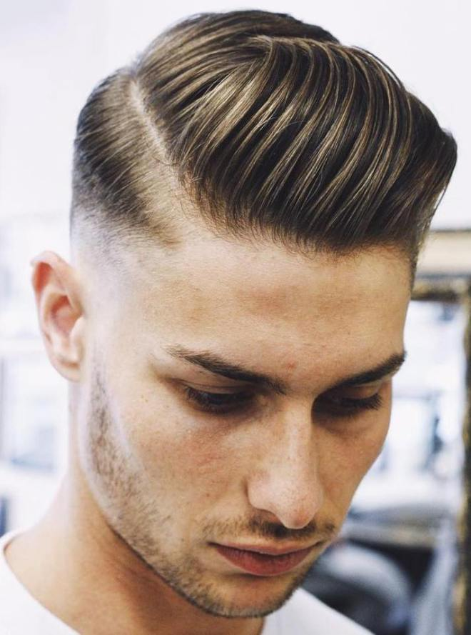 Slick Side Part Pompadour Hairstyle