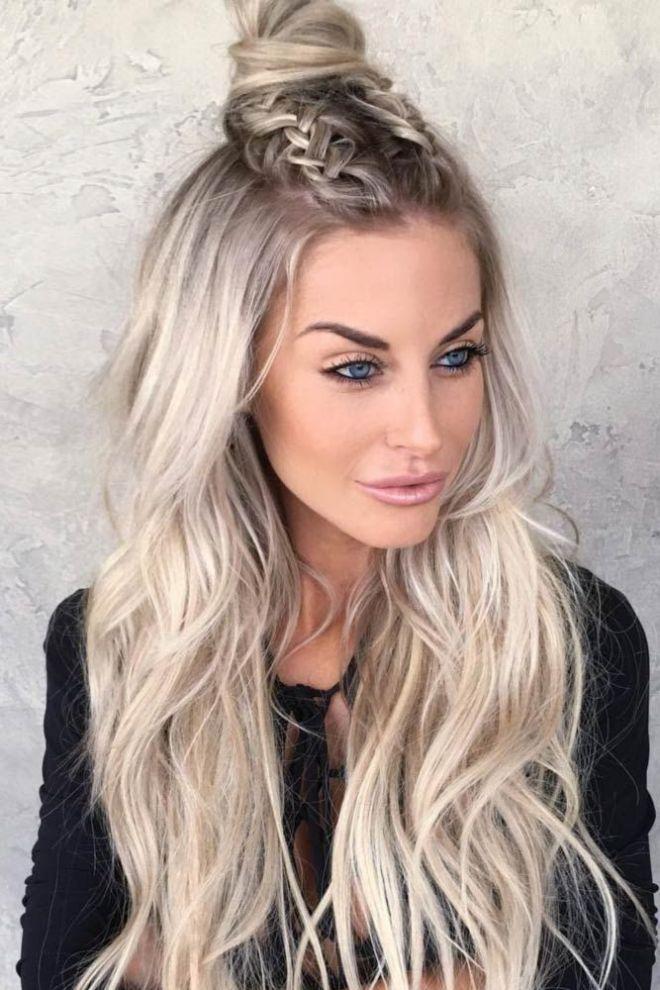 Long Wavy Hair with Two Dutch Braid Bun