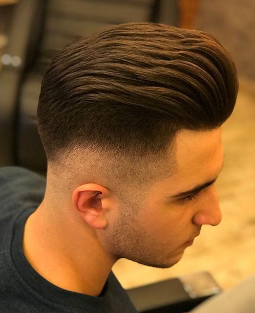 Pompadour Slick Back Fade Haircut