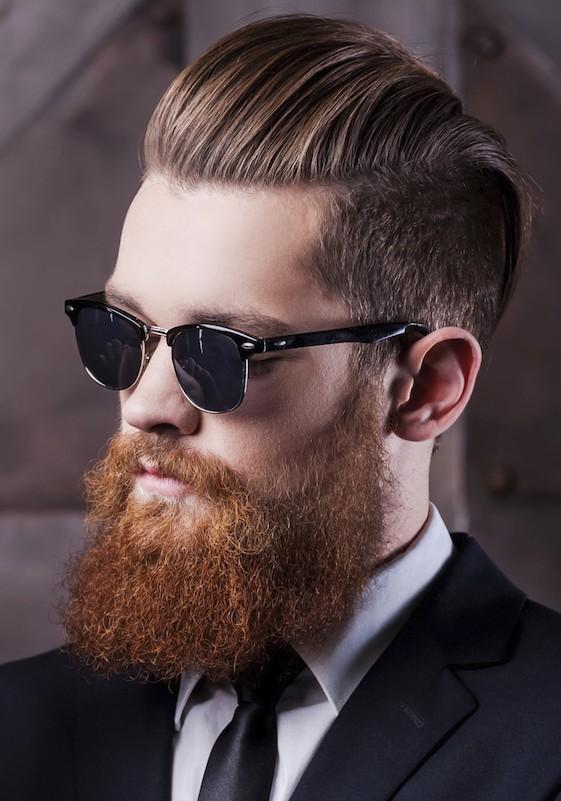 Undercut Back Slick Haircut With Beard