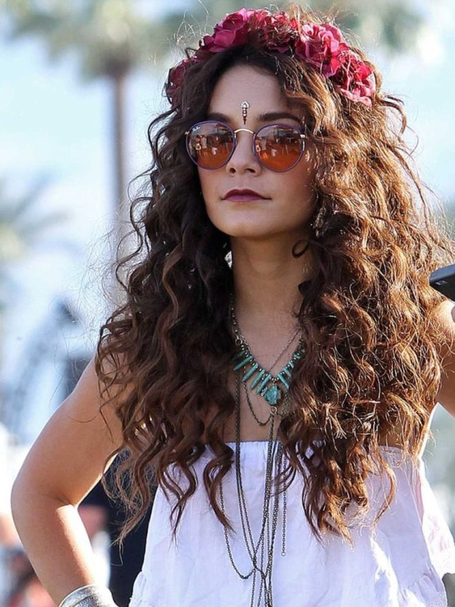 Curly Long Hairstyle With Flower Crown