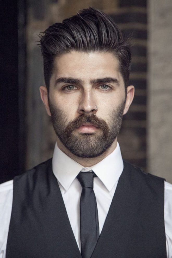 Brush Back Mens Hairstyles With Medium Stubble Beard