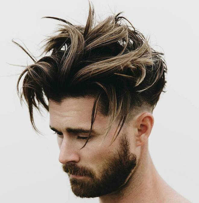 Long Messy Quiff Hairstyle with Undercuts