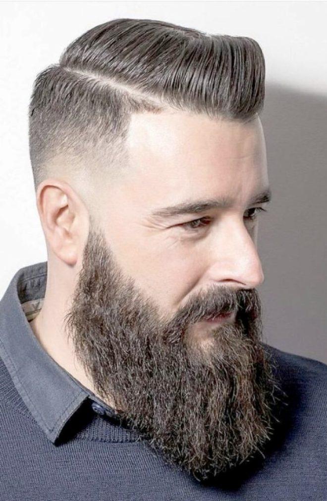 Sideburn Fade Haircut With Full Beard