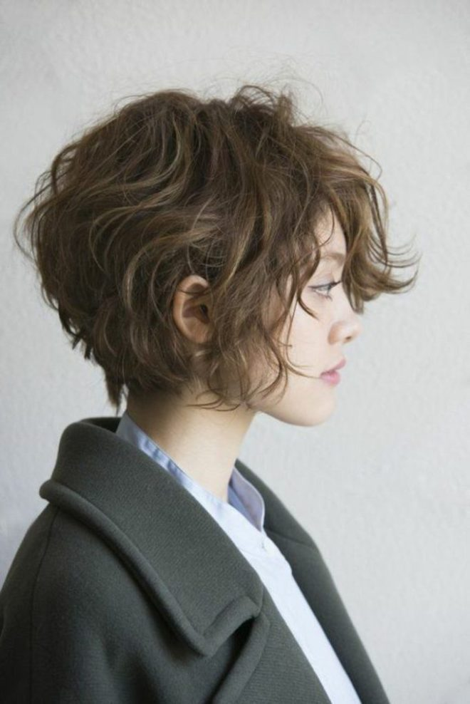 Messy Short Hairstyle with Long Fringe