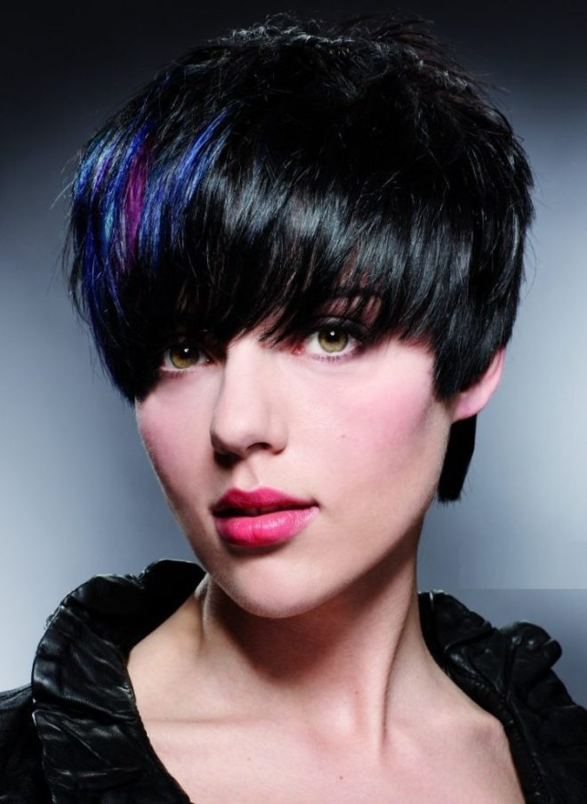 Short Black Haircut with Blue Streak