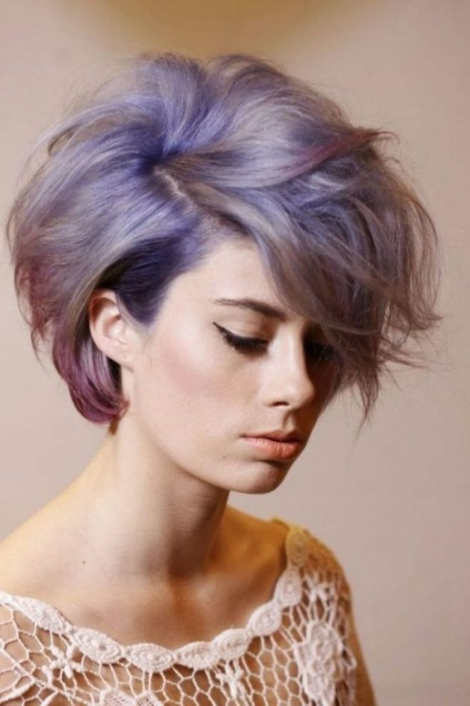 Layered Short Hairstyle with Purple Highlight