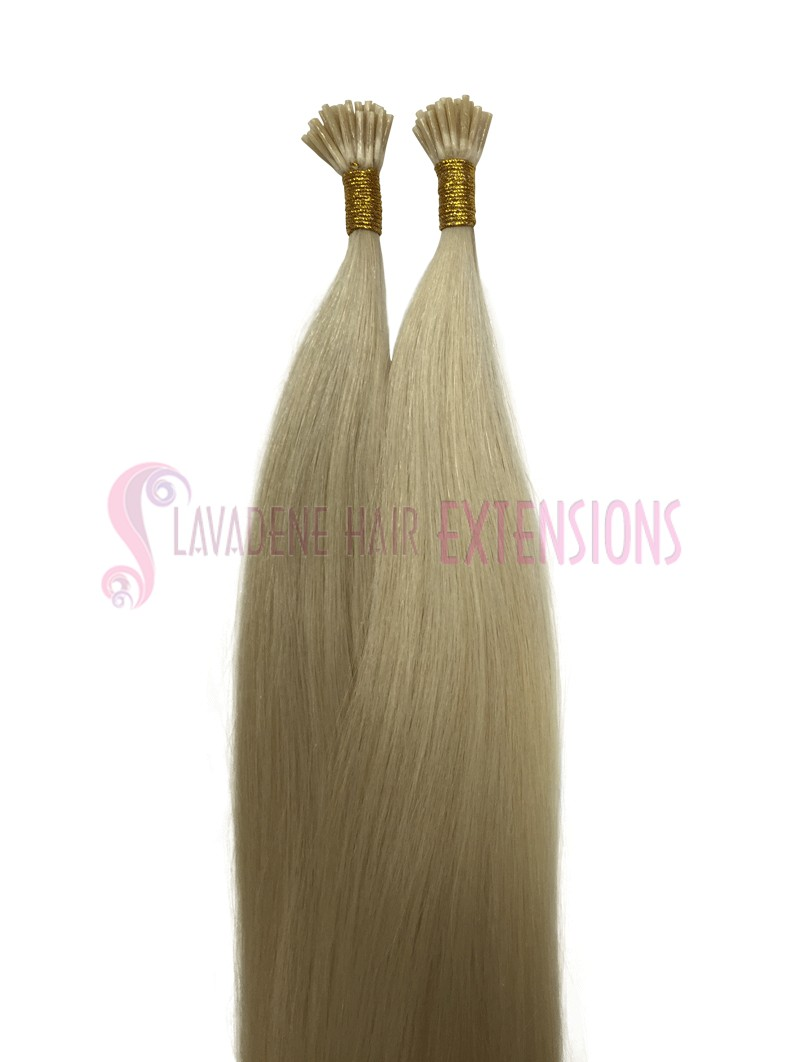 60 Platinum Blonde Microbead Hair Extensions Straight 22