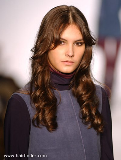 Long Brunette Hair With Soft Coils And Side Swept Bangs