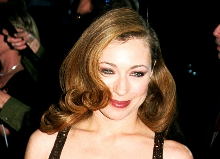 Alex Kingston Sporting A Glamour Evening Hairstyle With