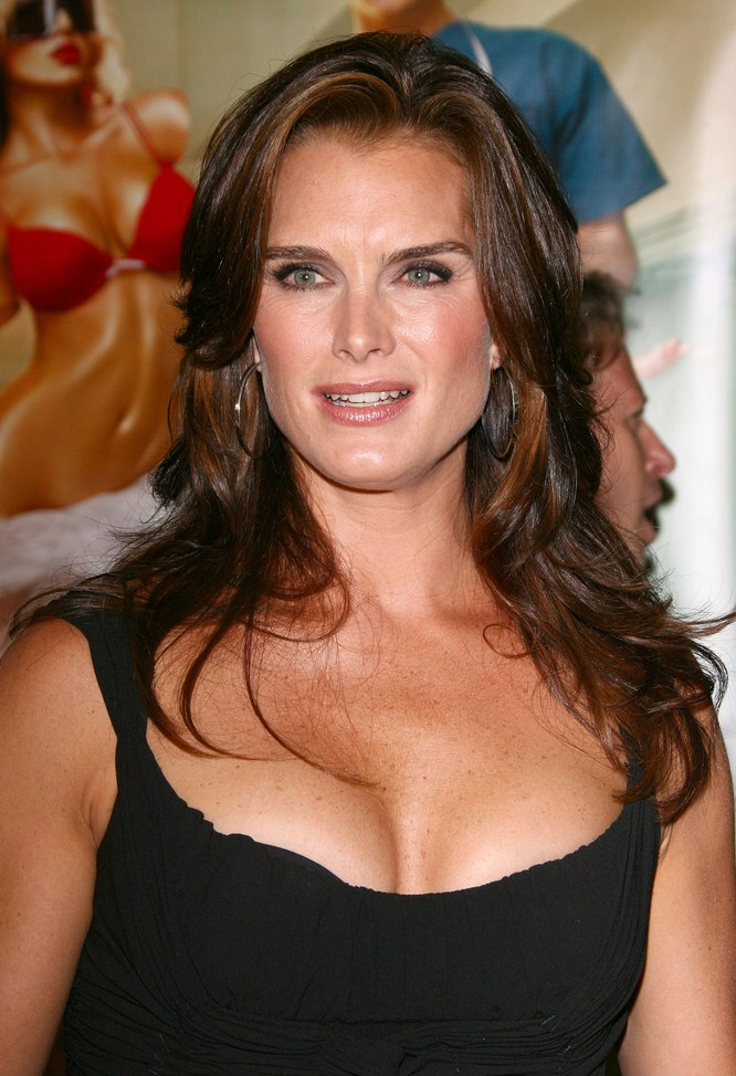 Brooke Shields wearing her hair long and naturally looking
