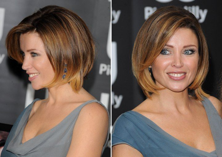 Dannii Minogues hair cut in a bob with lifted bangs