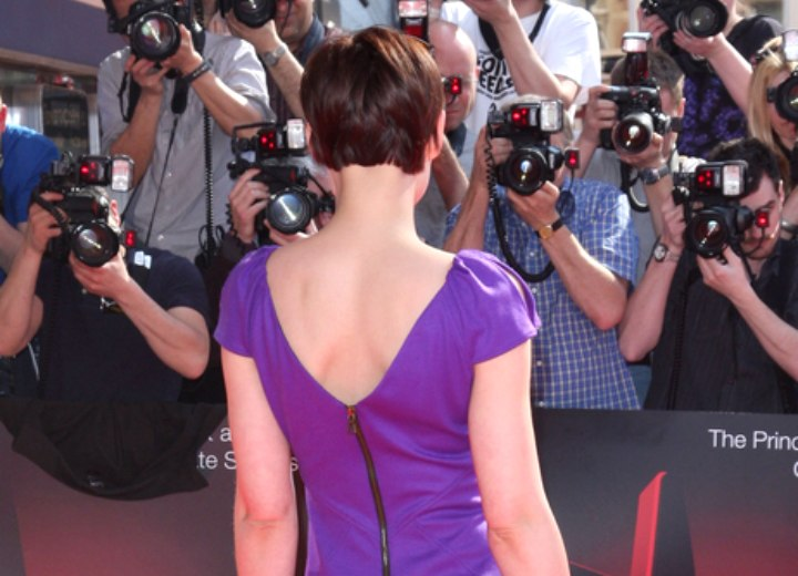 Emma Willis  Short pixie haircut with swooped bangs