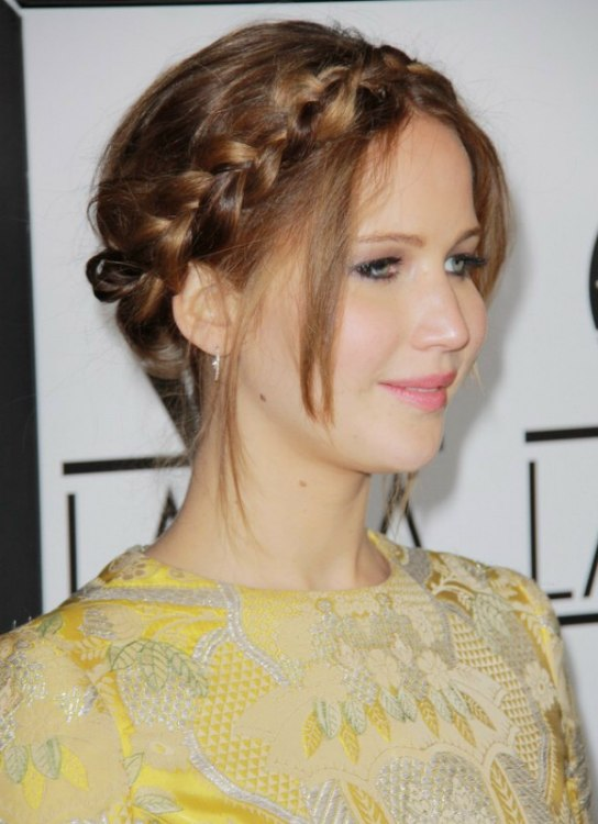 Jennifer Lawrence wearing her hair in a braided upstyle
