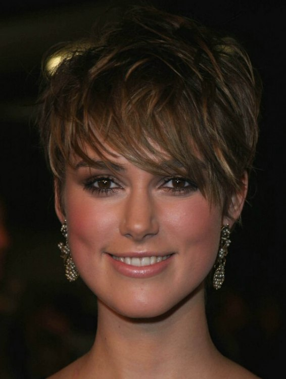 Keira Knightley With Her Hair Cut Short With Extra Long Bangs