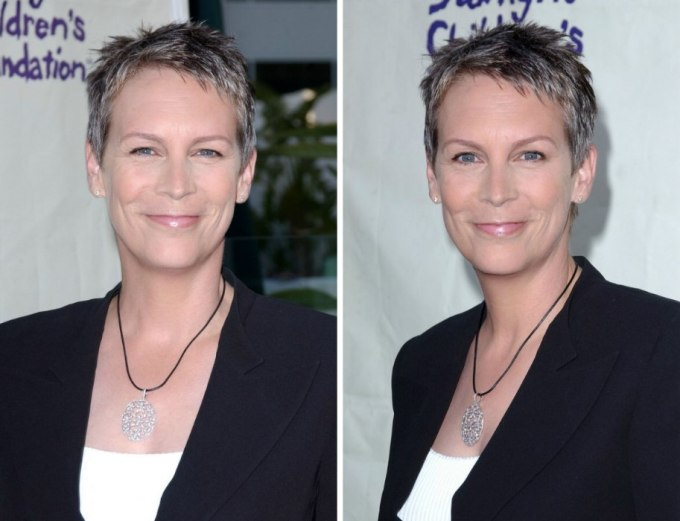 the short wash and wear hairstyle of jamie lee curtis for