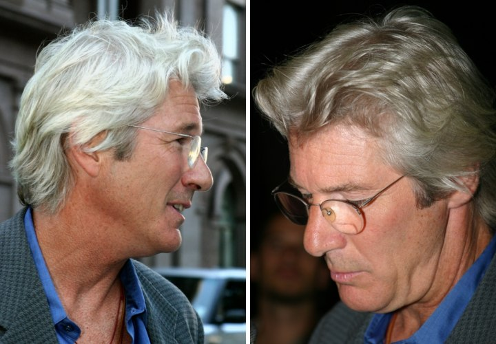 Richard Gere With Silver Hair And Sporting A Classic