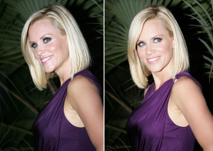 Jenny McCarthy With Bluntly Fashioned Hair And Jennifer