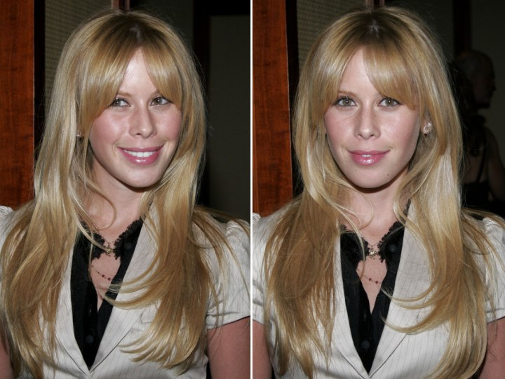 Tara Lipinski with waves and with straight hair that makes