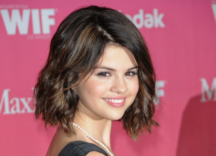 Selena Gomezs Bob Styled Into Spirals And Ashley Greenes