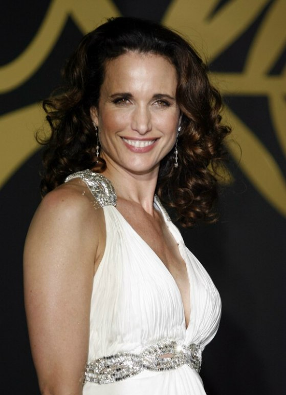 Andie MacDowell  Kylie Minogue  short retro hairstyle with pinned up curls