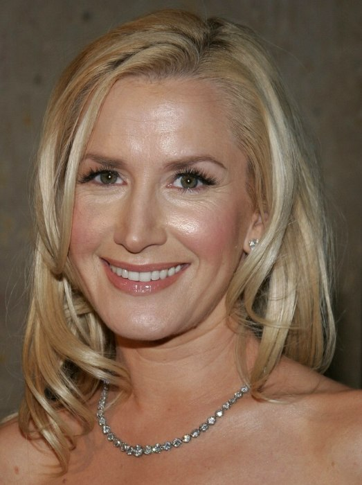 Angela Kinsey  Long angled hairstyle with a blunt cut in the back