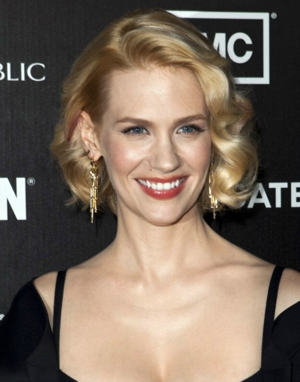 January Jones  Short angled bob with curls