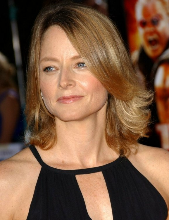Jodie Foster Medium Long Tapered Hairstyle With The Ends