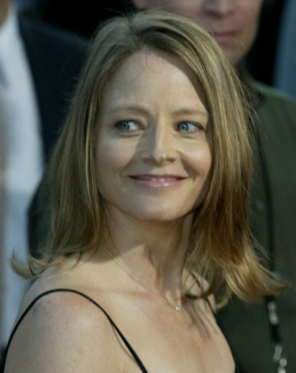 Jodie Foster with shoulder length hair or an outgrown bob