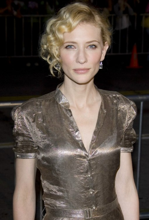 Cate Blanchett wearing her hair up in a bun with curls and waves  Feminine hairstyle