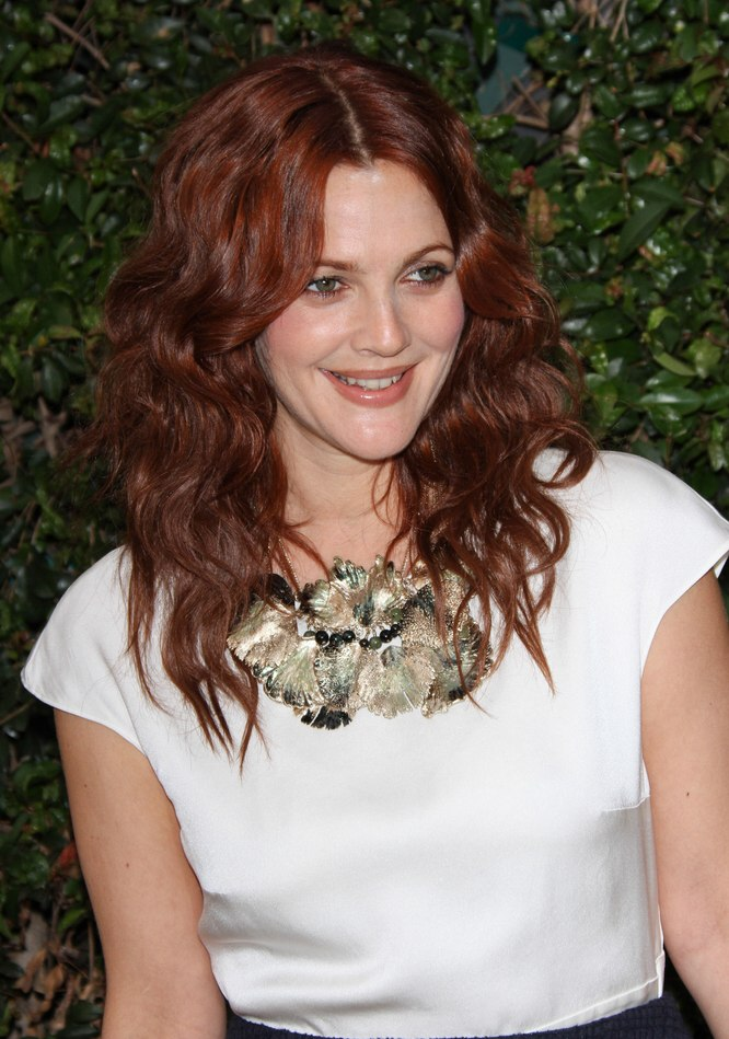 Drew Barrymore With Long Red Hair Waves And A Center Part