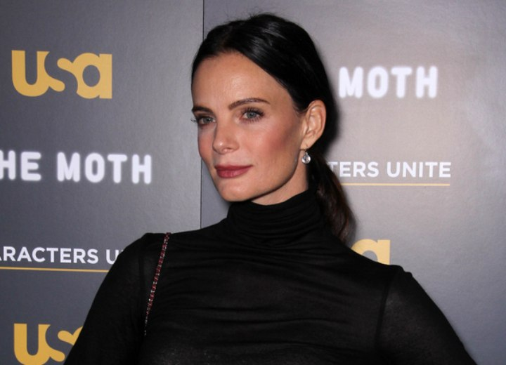 Gabrielle Anwar  Hair off the face and back in a long mid