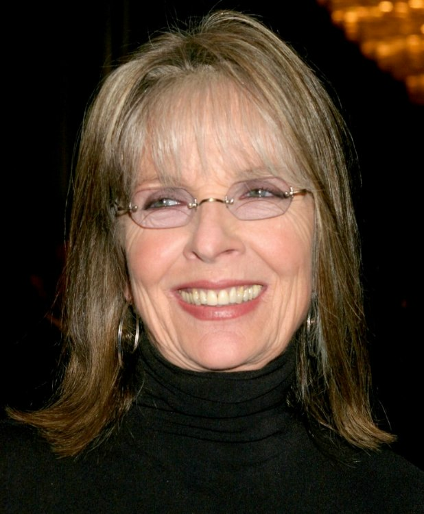 Diane Keaton Shoulder Length Hairstyle With Thin Bangs To Hide