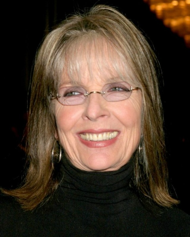 diane keaton | shoulder length hairstyle with thin bangs to