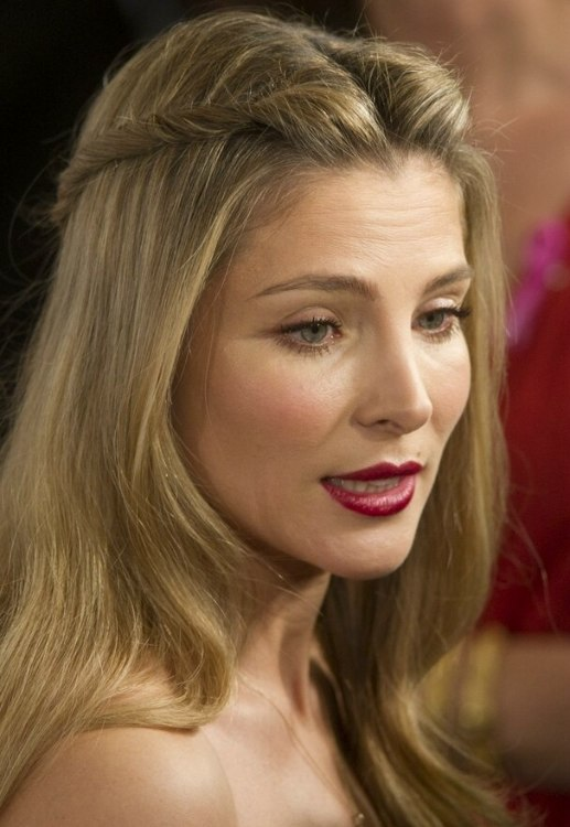 Elsa Pataky  Sweet long hairstyle with ponytails twisted towards the back