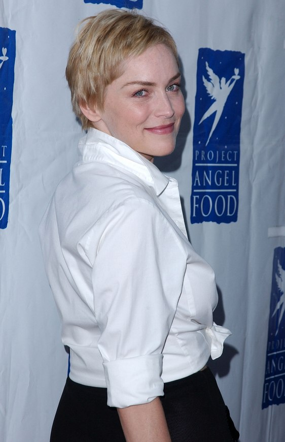 Sharon Stone  Perfectly cut pixie with the hair left longer over the ears
